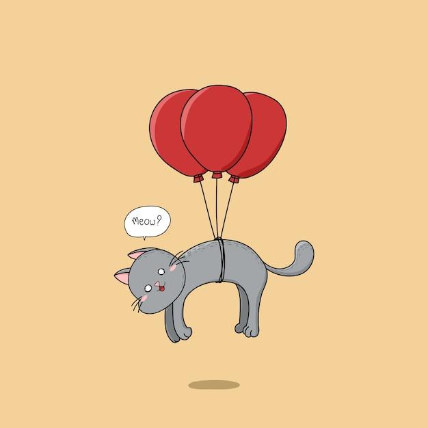 Gato bonito desenhado mão que voa com balões vermelhos. Vetor Premium