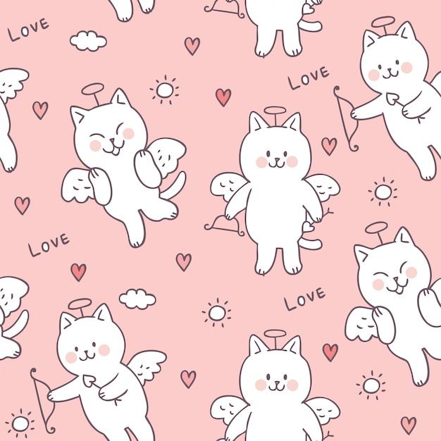 Gato bonito do cupido do dia de valentim dos desenhos animados e vetor sem emenda do teste padrão do amor. Vetor Premium