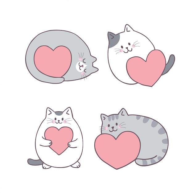 Gato bonito do dia de valentim dos desenhos animados e vetor do amor. Vetor Premium