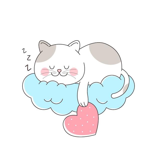 Gato bonito dormindo na nuvem pendurado amor Vetor Premium