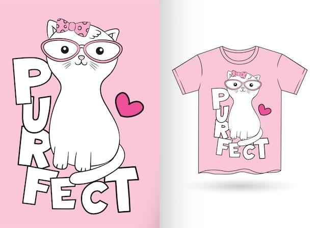 Gato bonito dos desenhos animados para t-shirt Vetor Premium