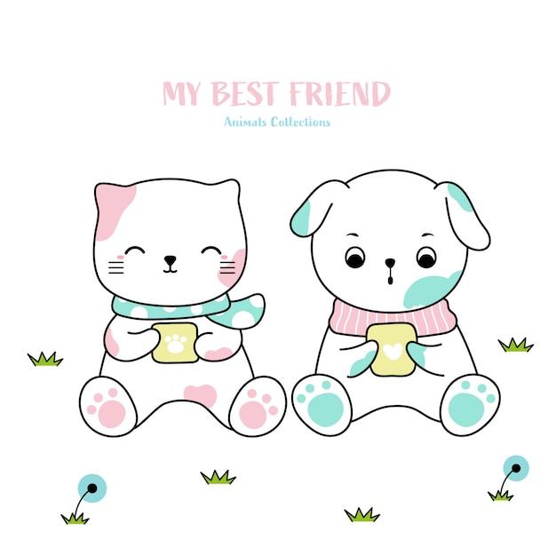 Gato bonito e cão animal mão desenhada estilo Vetor Premium