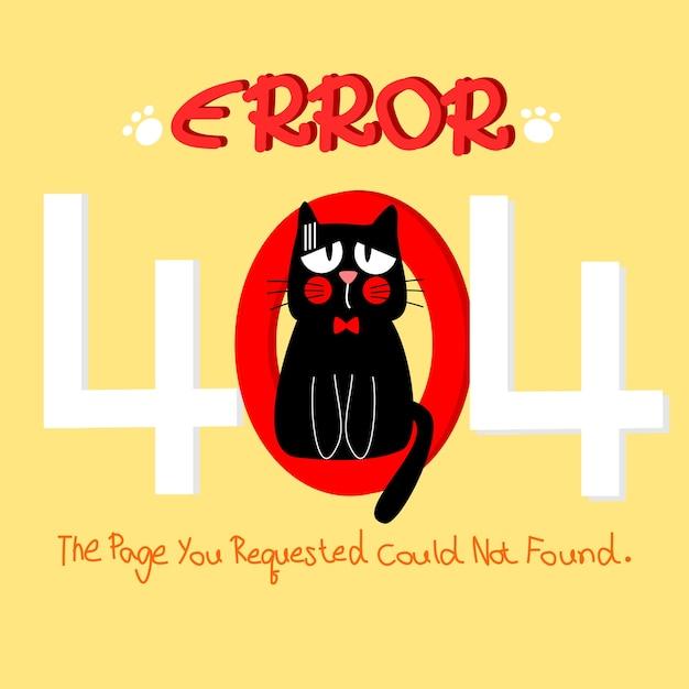 Gato bonito em fundo de erro 404 Vetor Premium