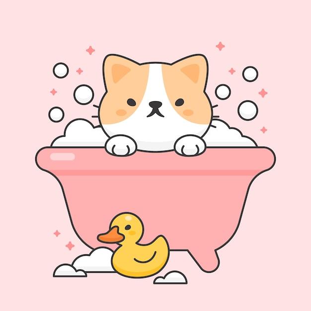 Gato bonito em uma banheira e borracha de pato Vetor Premium