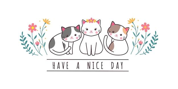 Gato bonito gatinho família saudação desenhos animados doodle papel de parede Vetor Premium
