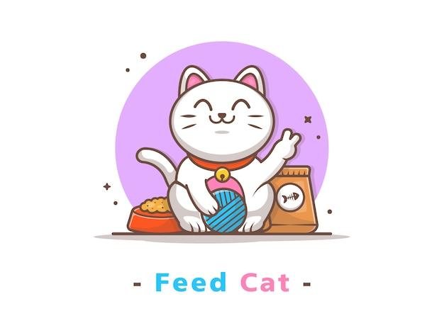 Gato bonito jogando bola com comida de gato Vetor Premium
