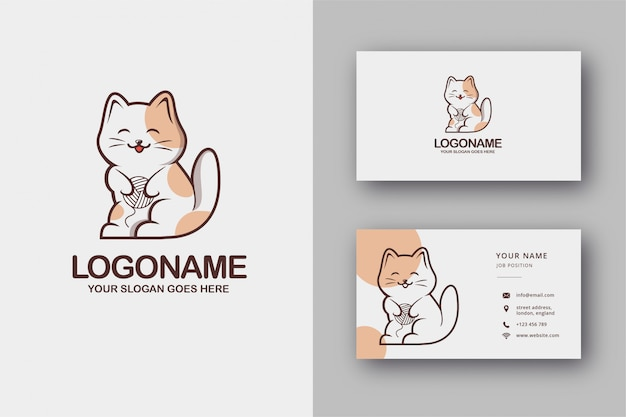 Gato bonito logotipo e cartão de visita Vetor Premium