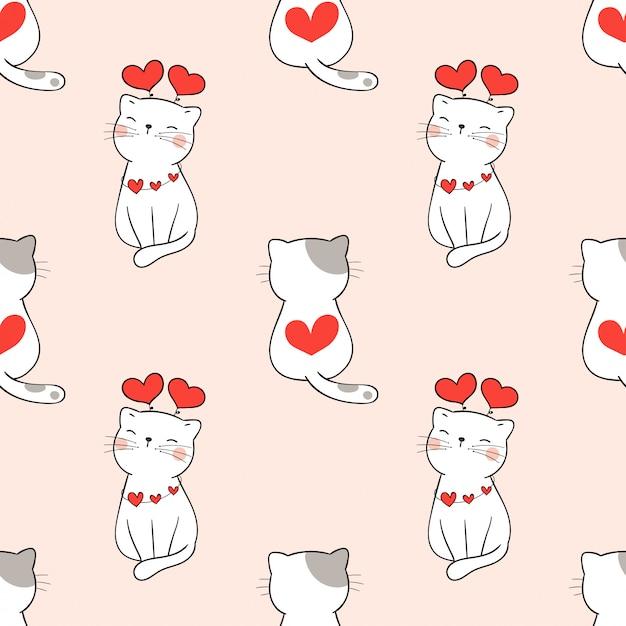 Gato bonito padrão sem emenda com coração para dia dos namorados. Vetor Premium
