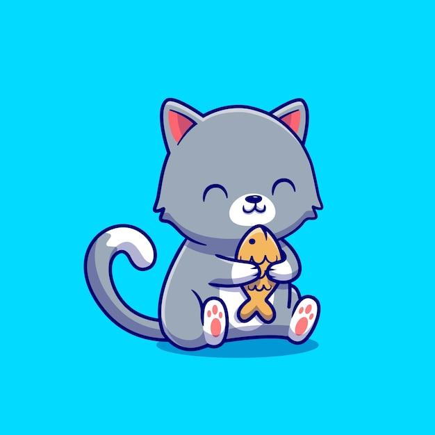 Gato bonito segurando a ilustração do ícone dos desenhos animados de peixe. conceito de ícone de comida animal isolado. estilo flat cartoon Vetor grátis