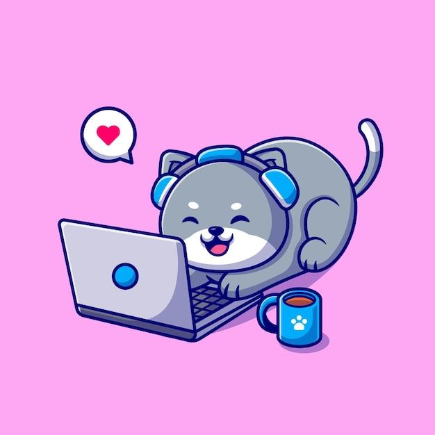 Gato bonito, trabalhando na ilustração dos desenhos animados do laptop. conceito de tecnologia animal isolado. estilo flat cartoon Vetor Premium