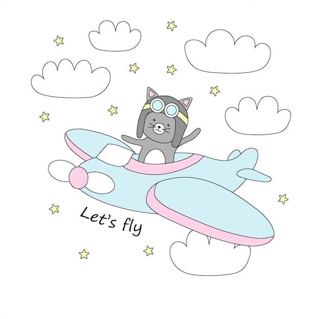 Gato bonito voa em um avião no céu com estrelas e nuvens. Vetor Premium