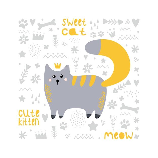 Gato cinzento bonito com uma cauda vermelha. princesa. Vetor Premium