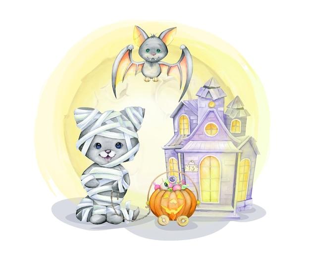Gato com a fantasia de múmia, morcego, abóbora, doce, lar. conceito de aquarela, em estilo cartoon para o feriado de halloween Vetor Premium