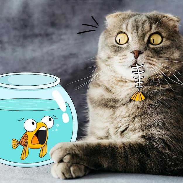 Gato comendo peixe doodle Vetor grátis