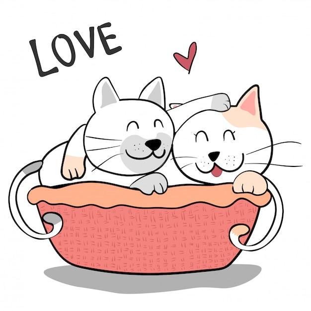 Gato de amizade casal fofo se abraçam em fundo rosa Vetor Premium