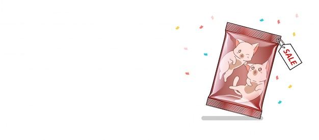 Gato de banner dentro da embalagem Vetor Premium