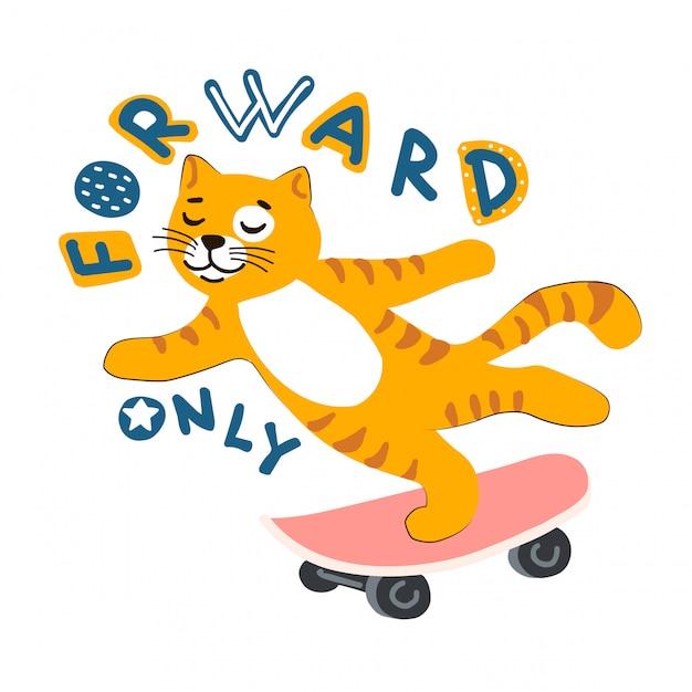 Gato de desenho animado ruiva de skate. letras de vlog Vetor Premium