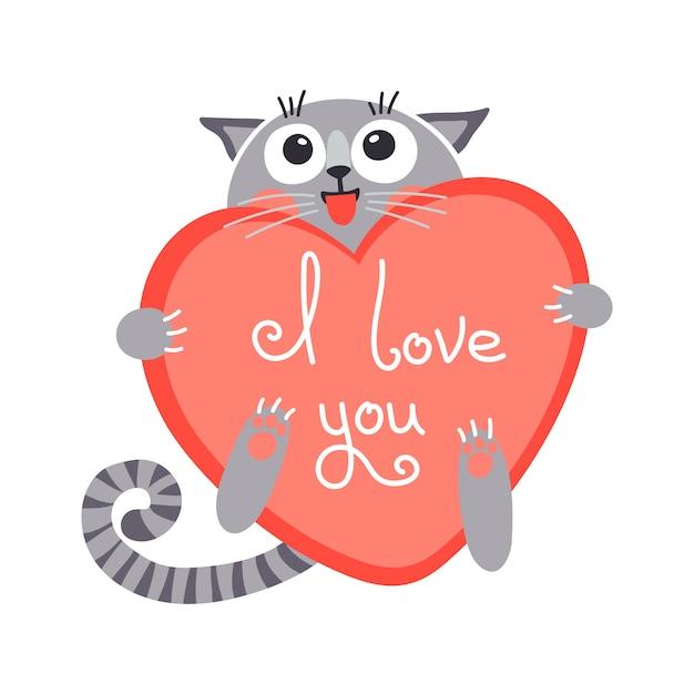 Gato de gengibre bonito dos desenhos animados com coração e declaração de amor. ilustração vetorial Vetor Premium