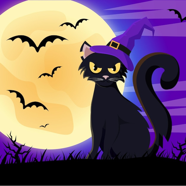 Gato de halloween de design plano com chapéu Vetor grátis