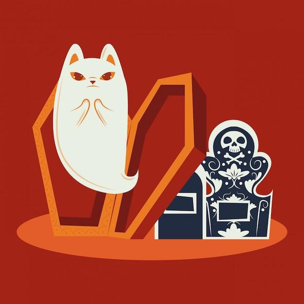 Gato de halloween disfarçado de personagem fantasma Vetor grátis
