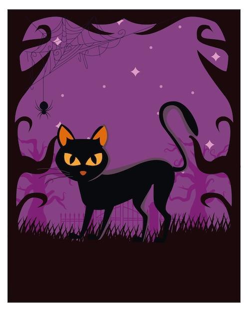 Gato de halloween preto à noite Vetor Premium