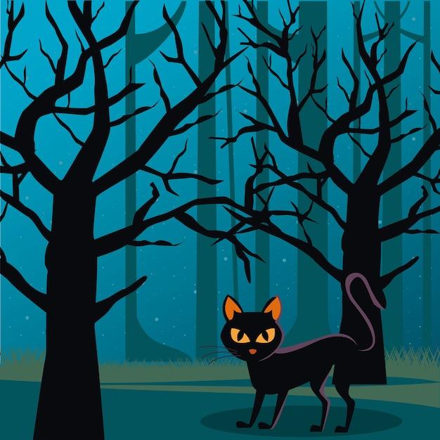 Gato de halloween preto com lua cheia à noite em cena de floresta Vetor Premium
