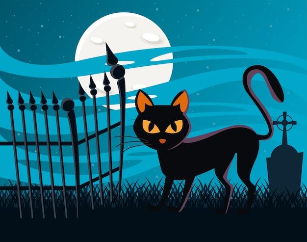 Gato de halloween preto com lua cheia à noite Vetor Premium