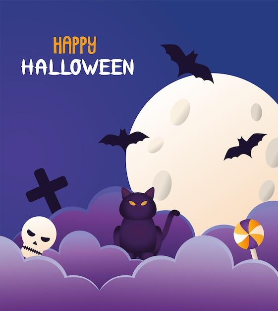 Gato de halloween preto e letras com lua e morcegos voando cena Vetor Premium