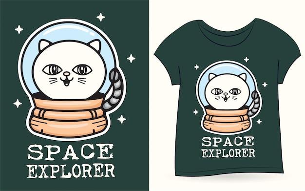Gato do espaço para camiseta Vetor Premium
