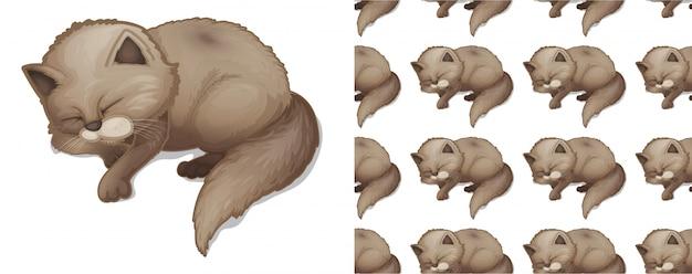 Gato dormindo isolado padrão animal dos desenhos animados Vetor grátis