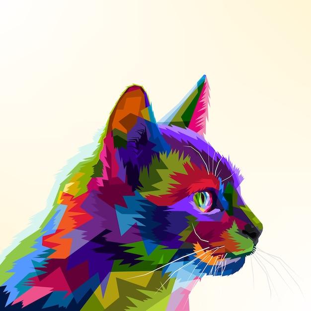 Gato Dos Desenhos Animados Colorido Vetor Premium