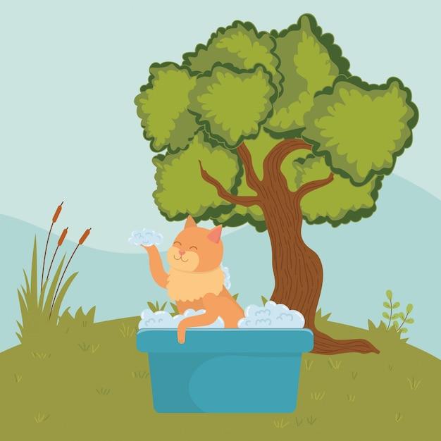 Gato dos desenhos animados tomando banho Vetor grátis