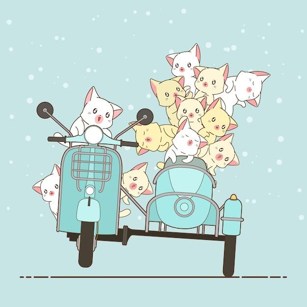 Gato e amigos tirados do cavaleiro do kawaii com motocicleta. Vetor Premium