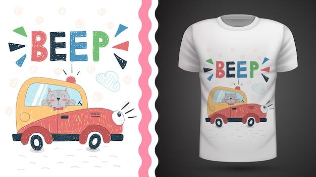 Gato em carro - idéia para impressão t-shirt Vetor Premium