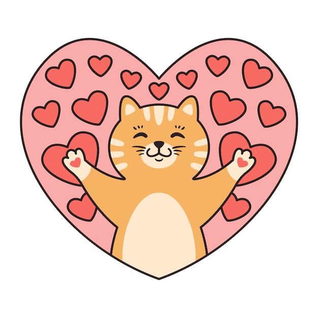 Gato em corações. cartões para dia dos namorados, aniversário, dia das mães. Vetor Premium
