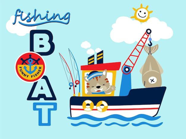 Gato em desenhos animados de barco de pesca Vetor Premium
