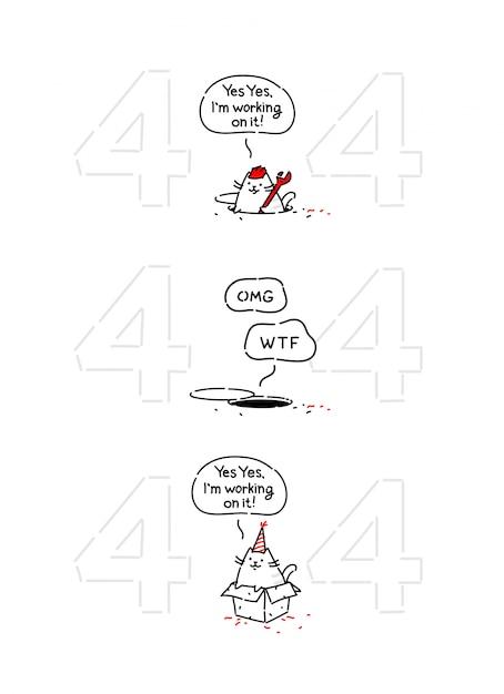 Gato engraçado dos desenhos animados na página 404 Vetor Premium