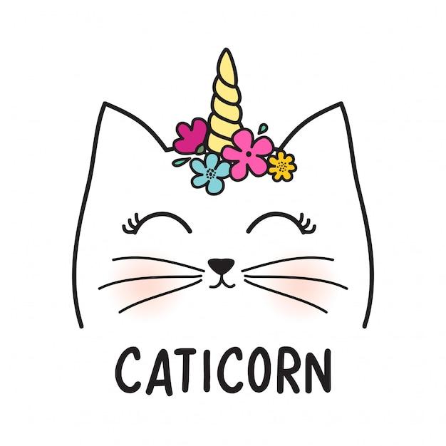 Gato fofo com chifre e flores Vetor Premium