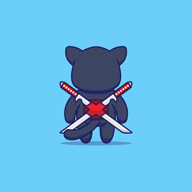Gato fofo com fantasia de ninja nas costas Vetor Premium