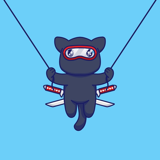 Gato fofo com fantasia de ninja pulando e voando com corda Vetor Premium