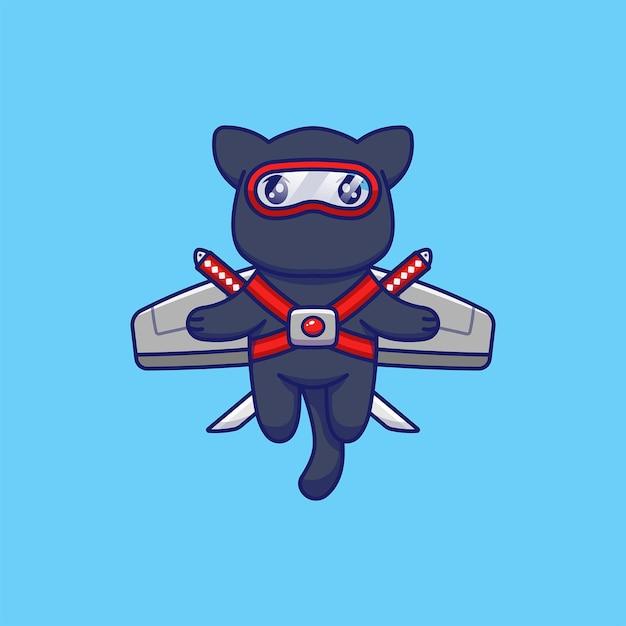 Gato fofo com fantasia de ninja voando com asas Vetor Premium