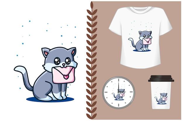 Gato fofo com ilustração de carta de amor Vetor Premium