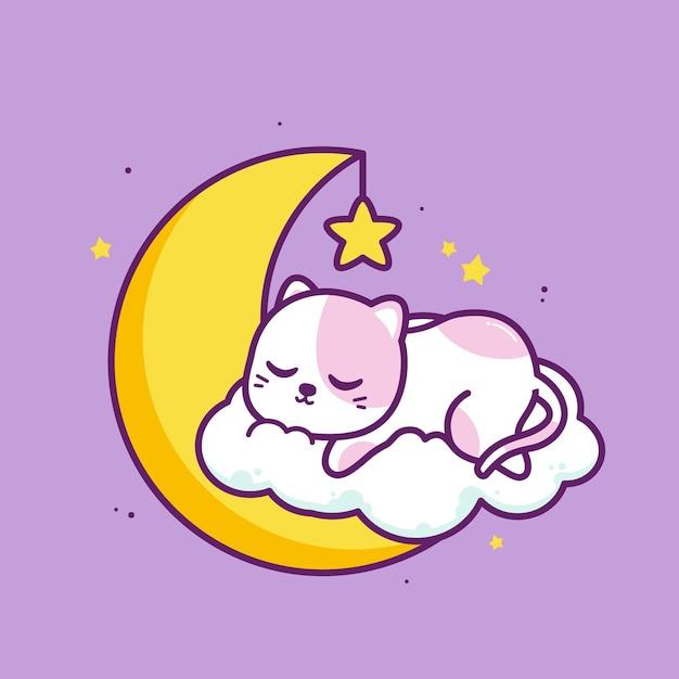 Gato fofo dormindo na nuvem com a lua Vetor Premium