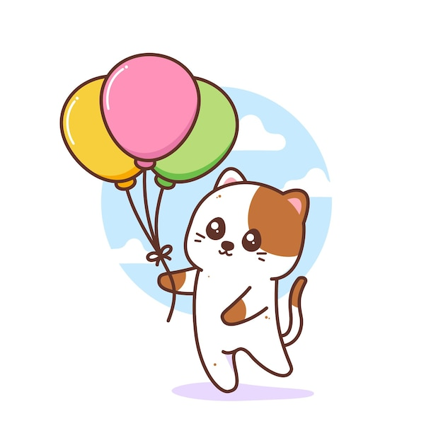 Gato fofo segurando balões coloridos Vetor Premium