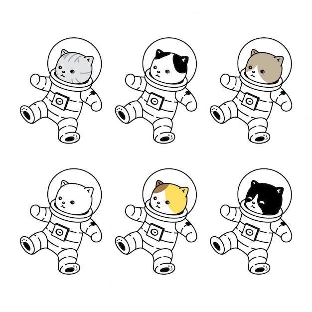 Gato gatinho ícone traje espacial desenho animado animal de estimação Vetor Premium