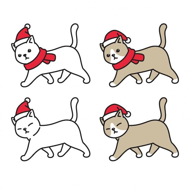 Gato gatinho natal chapéu de papai noel andando personagem de desenho animado Vetor Premium