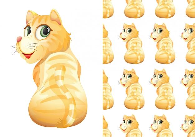 Gato isolado padrão animal dos desenhos animados Vetor grátis