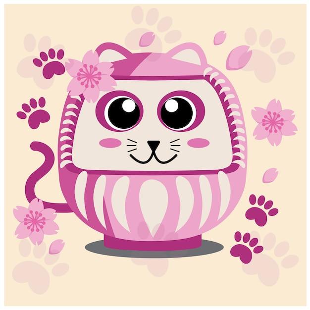 Gato japonês, flor de sakura e pé rosa Vetor Premium
