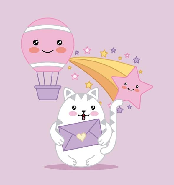 Gato Kawaii Detem Mensagem Amor Balao De Ar Dos Desenhos Animados