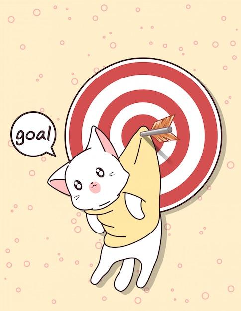 Gato kawaii e gol com flecha Vetor Premium